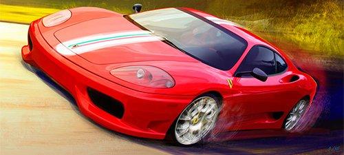 """360 Stradale"" Automotive Art"