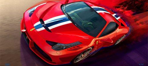 """""""Fiorano Fury"""" Ferrari Automotive Art"""