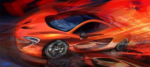 """Molten McClaren"" Automotive Art"
